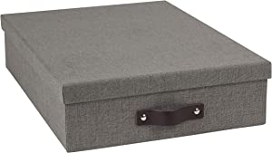 Bigso Oskar Canvas Fiberboard Document Letter Box, 3.3 x 10.2 x 13.8 in, Grey