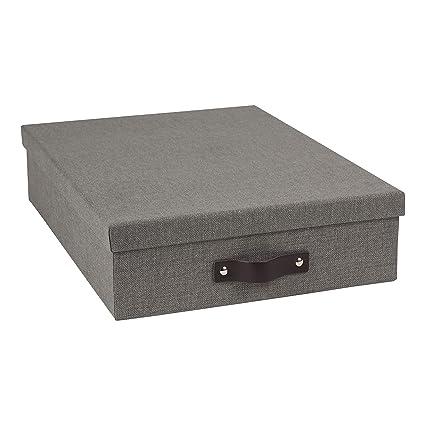 Bigso Oskar Canvas Paper Laminate Letter Storage Box, Grey