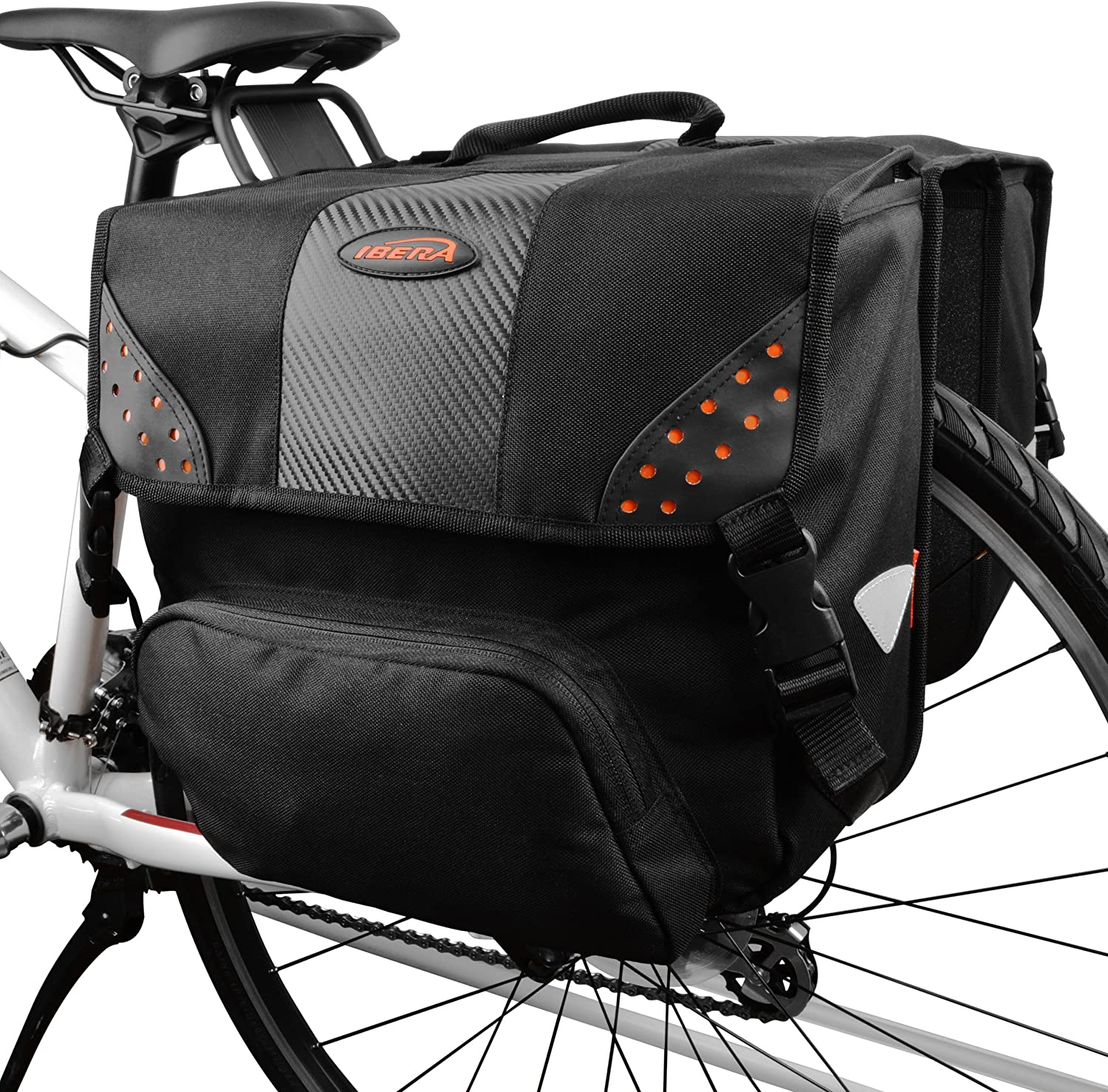 Ibera Bicycle Side-Mounting Pannier Set, Bike Panniers with Multi-Compartments, Slit on Top to Mount on Smaller Racks