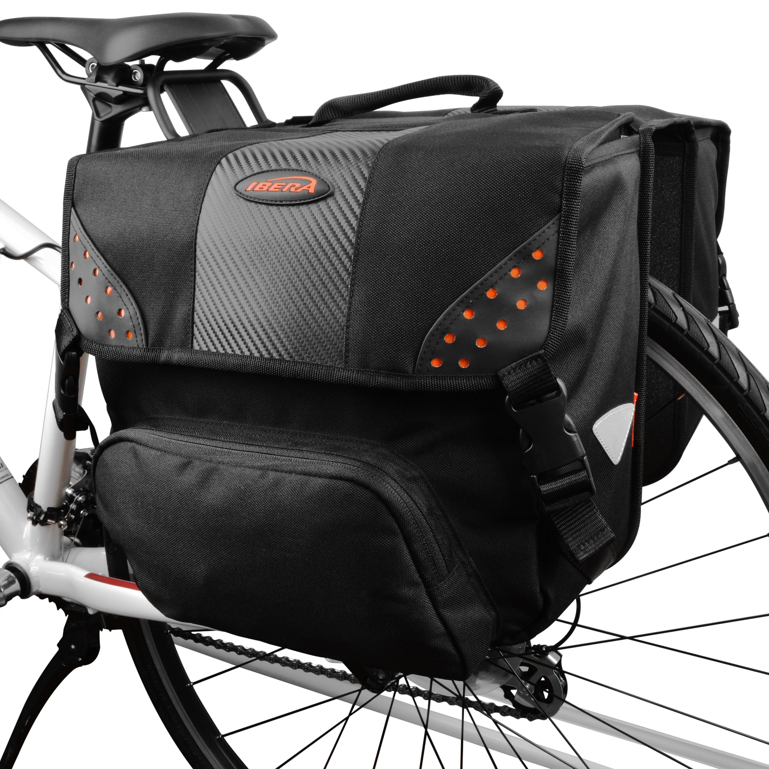 Ibera Bicycle Side-Mounting Pannier Set, Bike Panniers with Multi-Compartments, Slit on Top to Mount on Smaller Racks  by Ibera (Image #1)