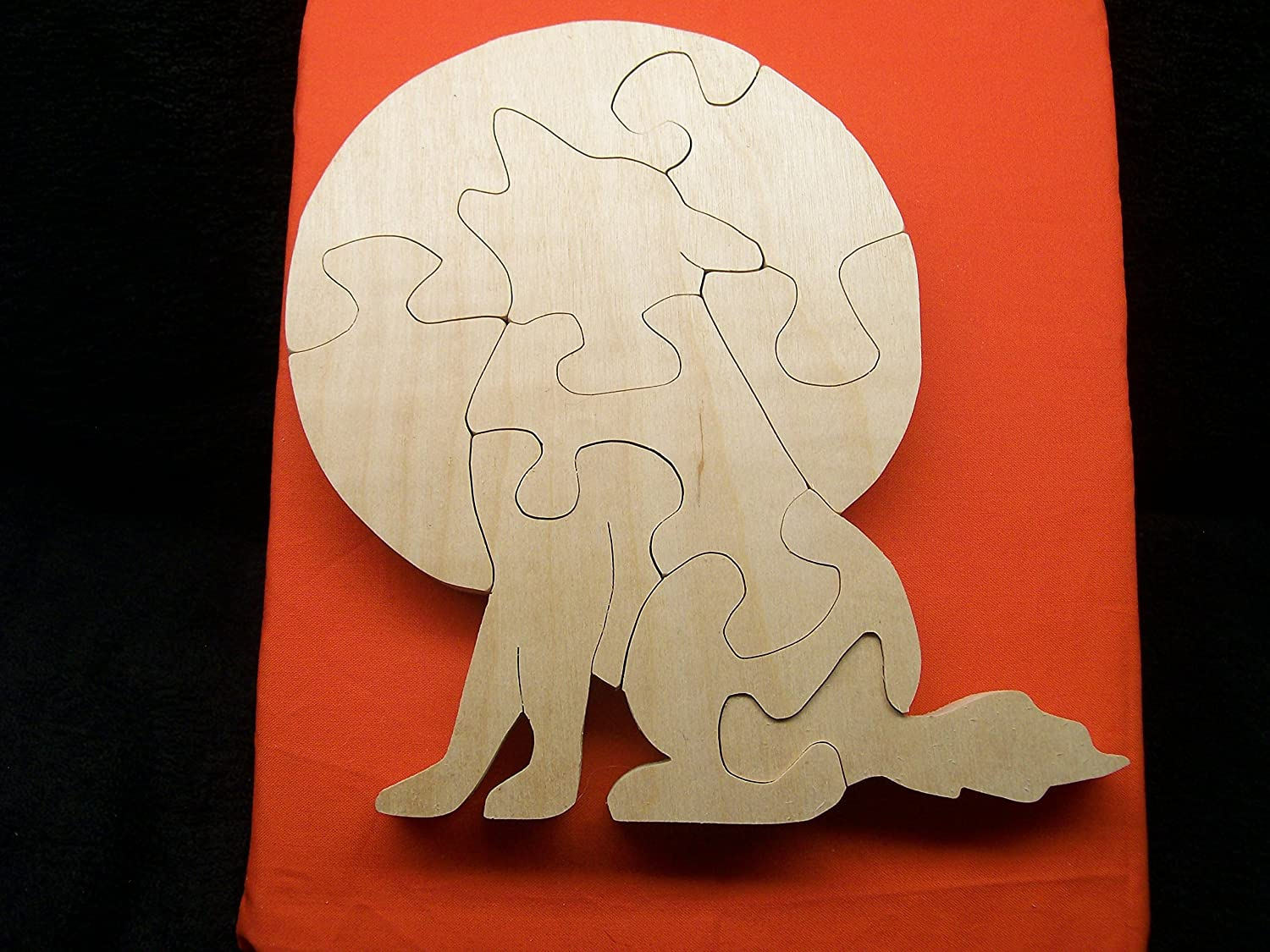 Handmade Wooden Halloween Puzzle Wolf howling at the moon