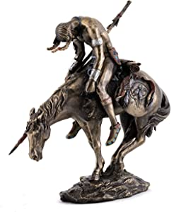 Top Collection Native American Statue Riding Horse - Hand Painted End of The Trail Statue in Premium Cold Cast Bronze - 7.25-Inch Collectible James Earle Fraser Indigenous Indian Figurine