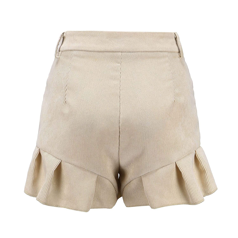 VividYou Womens Flounced Beach Wear Corduroy High Waist Shorts Pants