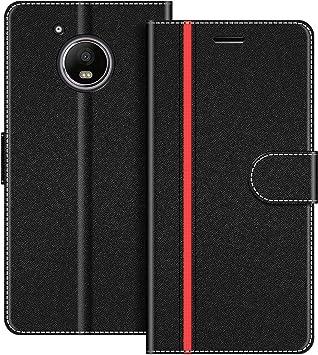 COODIO Funda Motorola Moto G5 Plus con Tapa, Funda Movil Motorola Moto G5 Plus, Funda Libro Motorola Moto G5 Plus Carcasa Magnético Funda para Motorola Moto G5 Plus, Negro/Rojo: Amazon.es: Electrónica