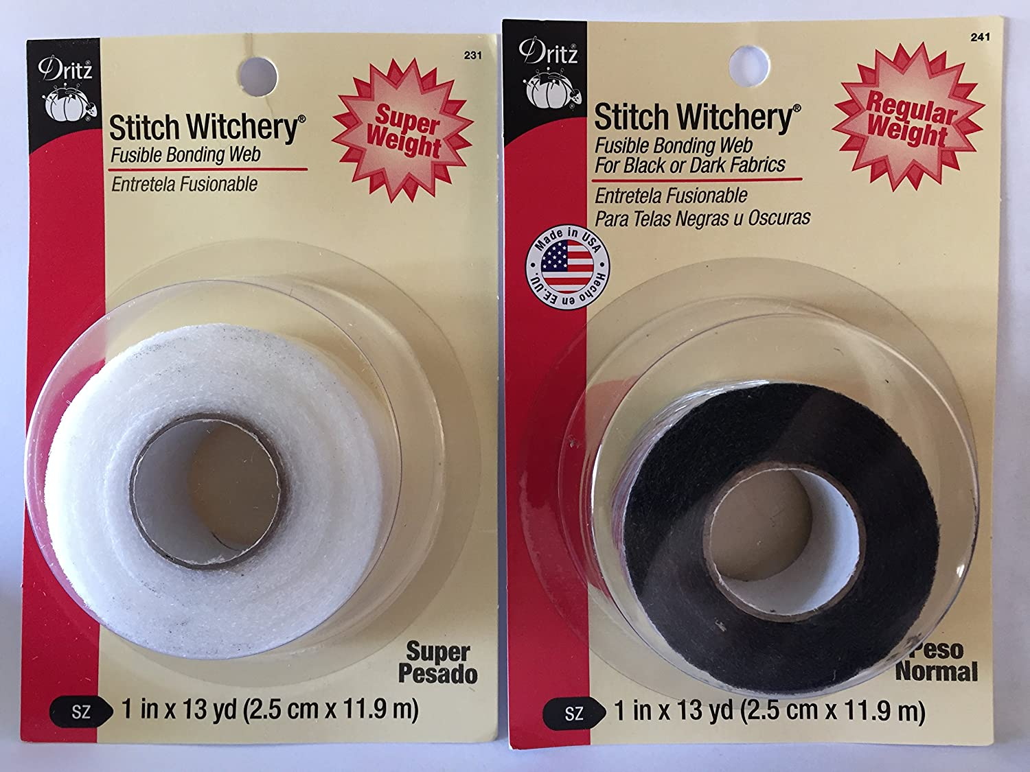 Bundle Stitch Witchery Hemming Tape 1 Super White & 1 Regular Black 13 yds Each Fusible Bonding Web CESDes