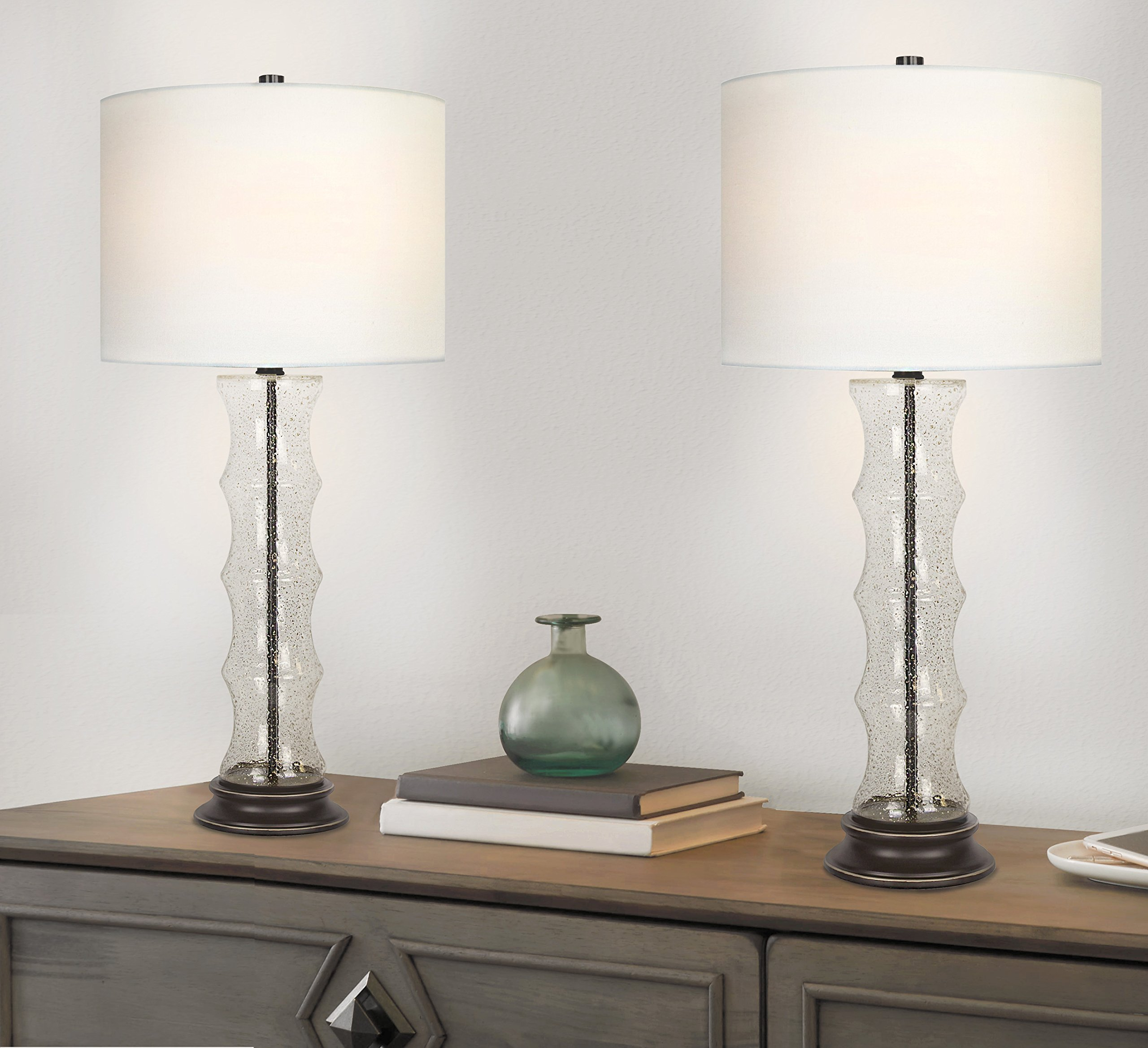 Grandview Gallery 29'' Desert Glass Lamp Set ft. Textured Glass Embedded with Gold Sand, Oil-Rubbed Bronze Details, and Off-White Linen Drum Shades - Perfect for Nightstands and End Tables (Set of 2) by Grandview Gallery (Image #4)