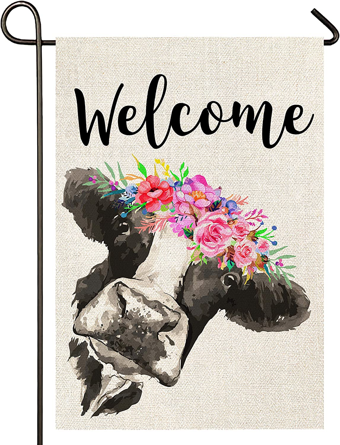 Atenia Welcome Floral Crown Cow Garden Burlap Flag, Double Sided Welcome Garden Outdoor Yard Flags for Summer Decor (Garden Size - 12.5X18)