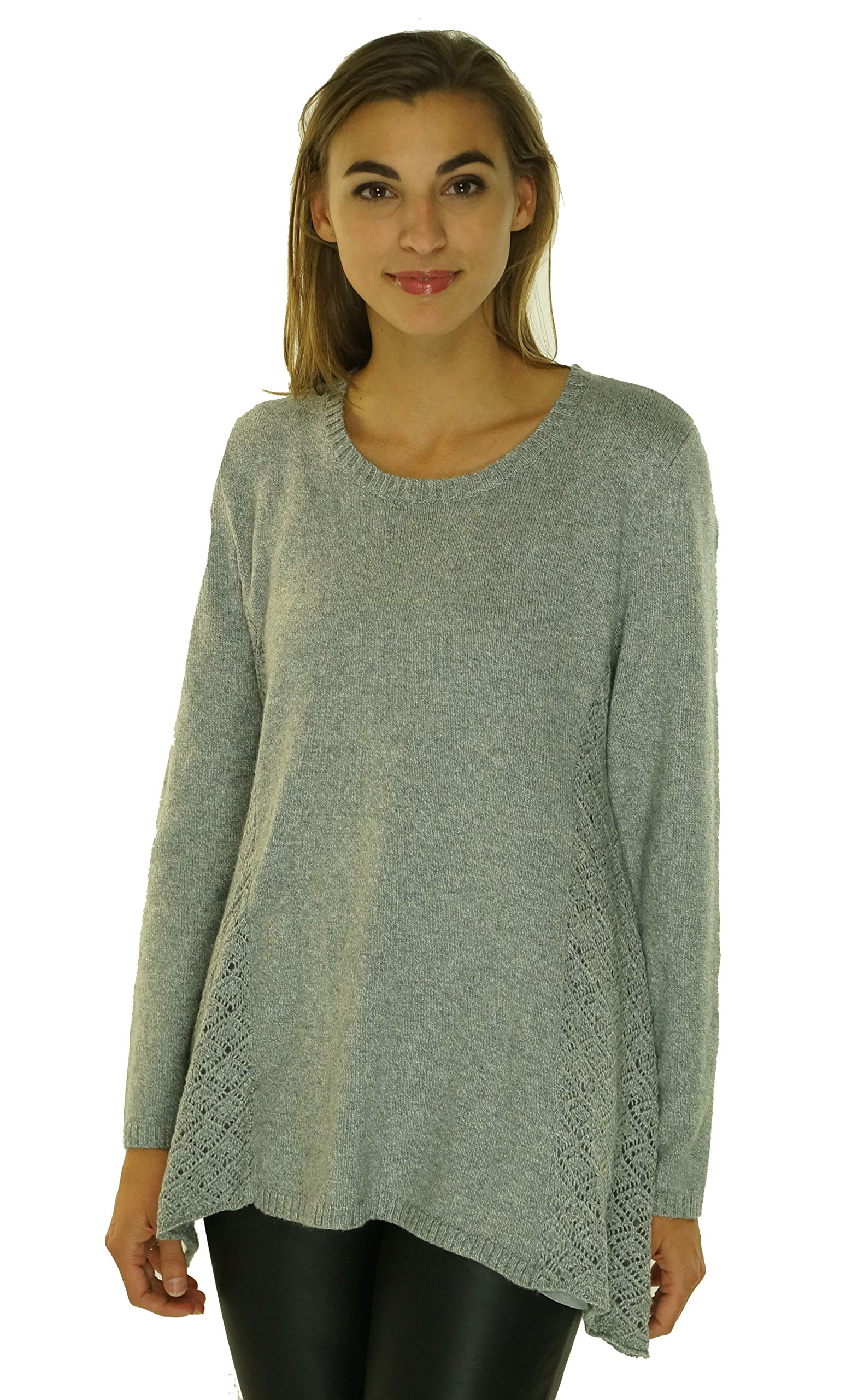 Style & Co. Women's Petites Pointelle Detail Sweater Bold Grey Heather PXL