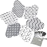 7pcs Set 1 pc Mini Wet Bag +6pcs Absorbent Reusable Sanitary Pads/Washable Bamboo Cloth Menstrual Pads (M,Grey)