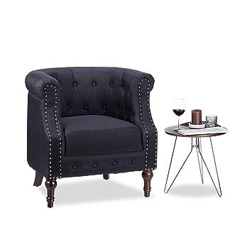 Hervorragend Relaxdays Retro Sessel, Chesterfield Design, Stoffbezug, Nietenbesatz,  Gesteppt, Sitzpolster,