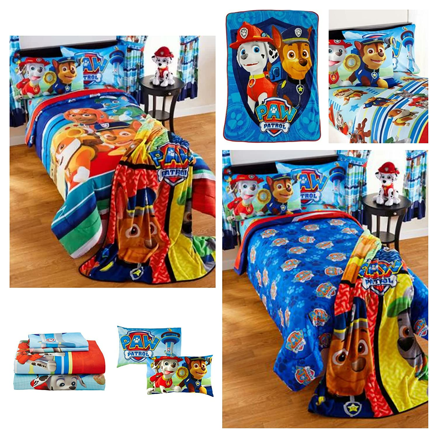 Paw Patrol Kids 5 Piece Bedding Set with Reversible Comforter, Sheets, Pillowcase, and Nap Blanket