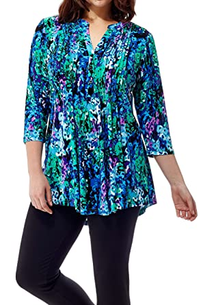 5b4c057f0923c8 La Cera Women s Printed Pleated Top Tunic at Amazon Women s Clothing store