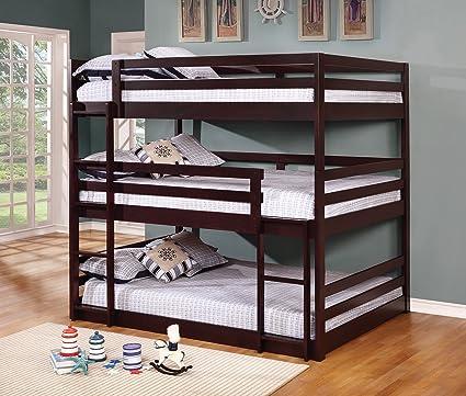 Amazon Com Coaster Home Sandler Cappuccino Three Bed Bunk Bed