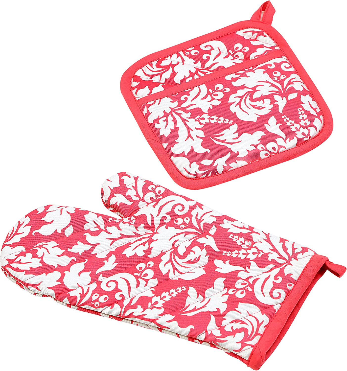 Yourtablecloth Set of Oven Mitt and Pot Holder or Oven Gloves-100% Cotton, High Heat Resistance, Superior Protection & Comfort–Elegant Design-Machine Washable-Pink