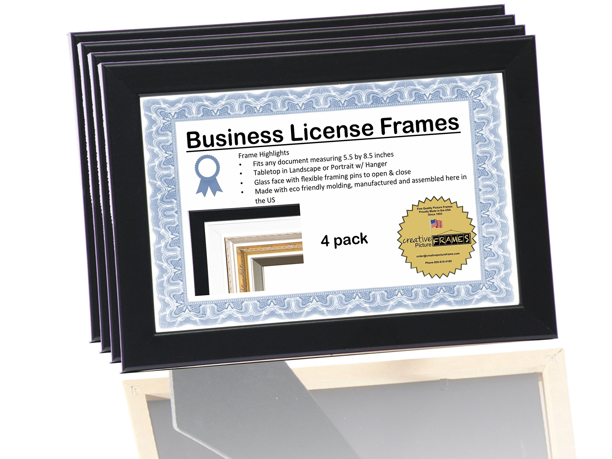 CreativePF [4pk5.5x8.5bk] Professional Black Business License Certificate Frame, Holds 5.5x8.5 Documents, Self Standing (4 Pack)