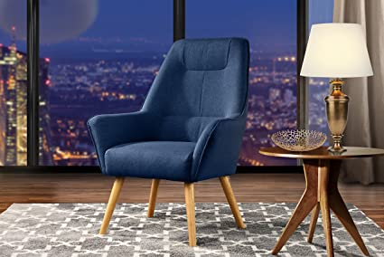 Admirable Accent Chair For Living Room Upholstered Linen Arm Chairs With Natural Wooden Legs Dark Blue Home Interior And Landscaping Thycampuscom