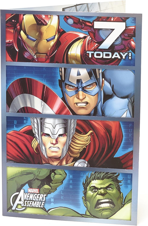 Age 6 Birthday Card - Avengers Birthday Card Featuring Hulk, Iron Man,  Thor, Captain America - 6th Birthday, Ideal Gift Card for Kids - Marvel