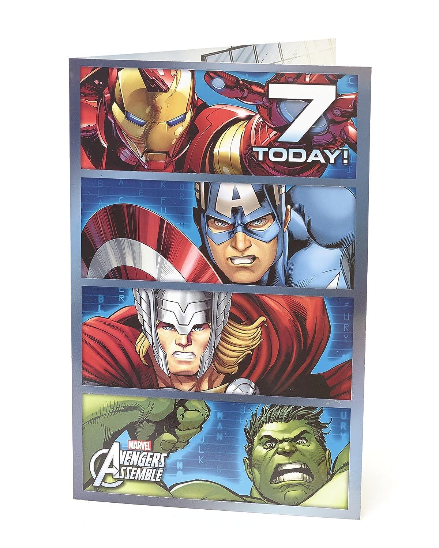 Marvel Vengadores montar edad 7 Tarjeta de felicitación de ...