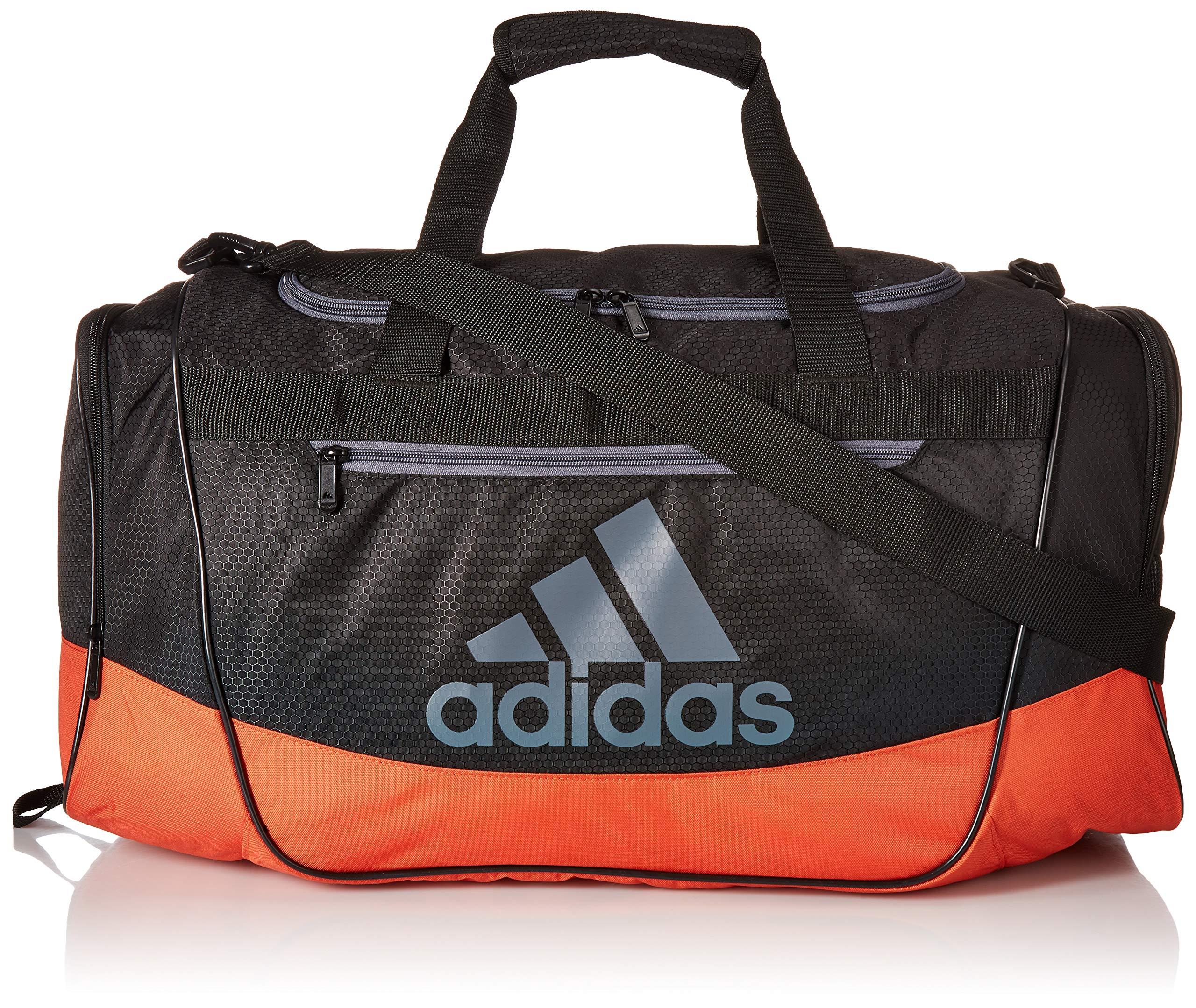 adidas Defender III Medium Duffel, Black/Raw Amber Orange/Onix, One Size