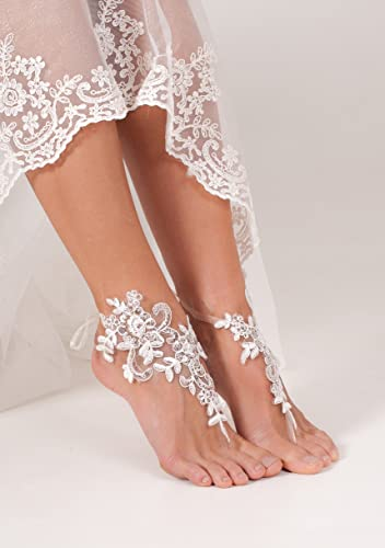 da485511e44a36 Amazon.com  Lace Sequins Barefoot Sandals
