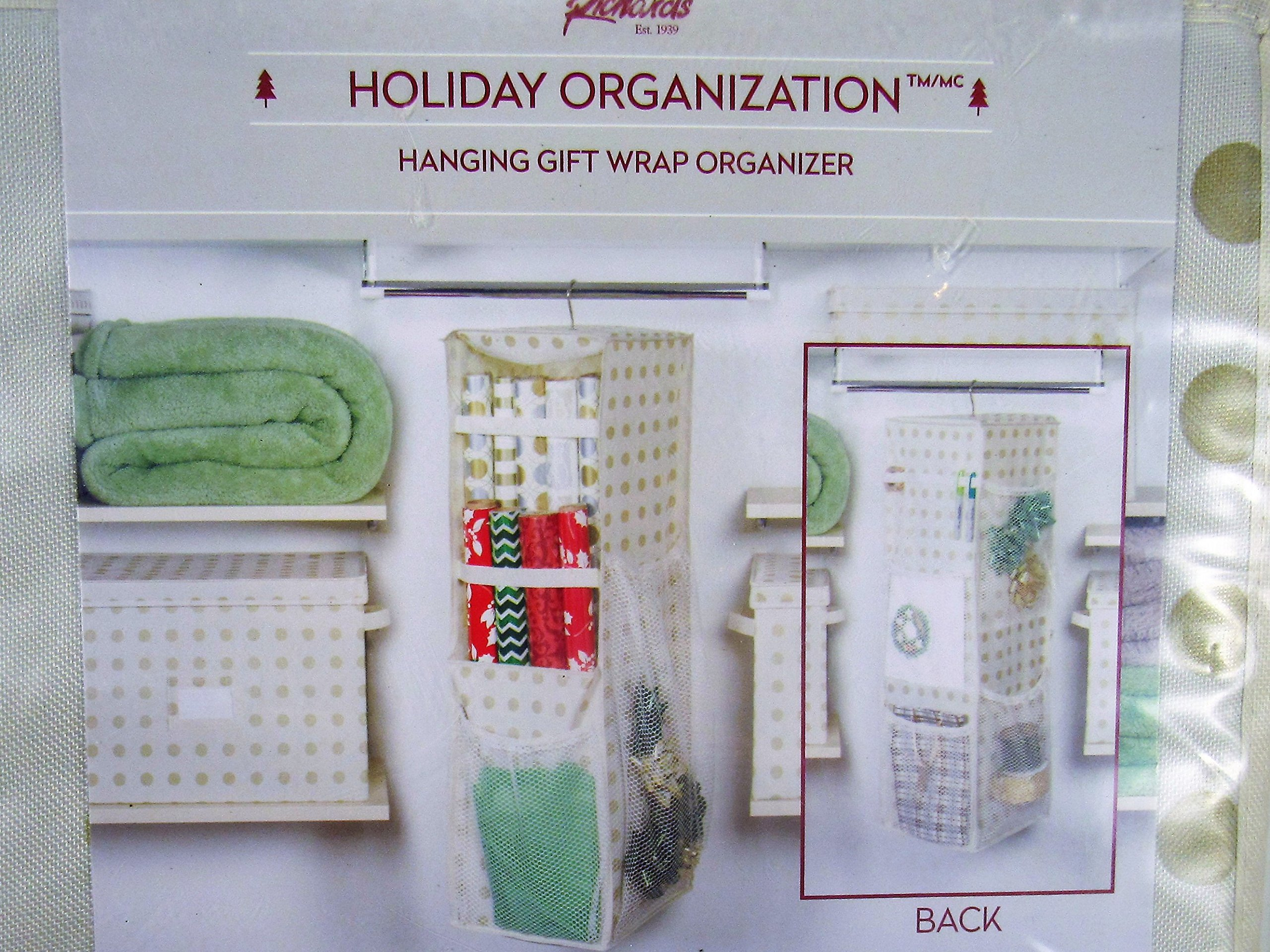 Richards Holiday Christmas Hanging Gift Wrap Organizer Holds Up to 25 Paper Rolls
