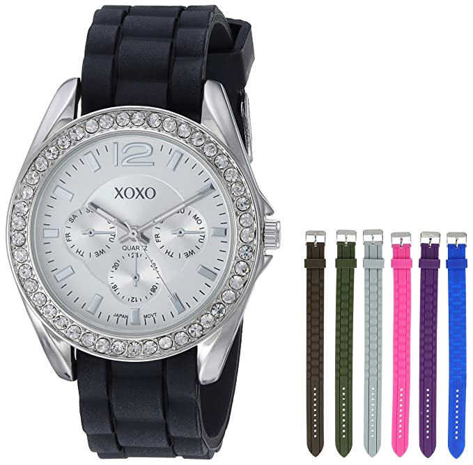 Amazon.com: XOXO Womens XO9028 Watch Set with Seven Interchangeable Silicone Rubber Straps: Watches