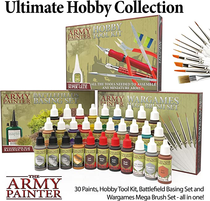 Durable Miniatures Paint Brush Set Wargames Mega Brush Set by The Army Painter 10 Miniature Paint Brushes with Free Masterclass Kolinsky Sable Hair Brush Wargamer Brushes with Comfortable Grip