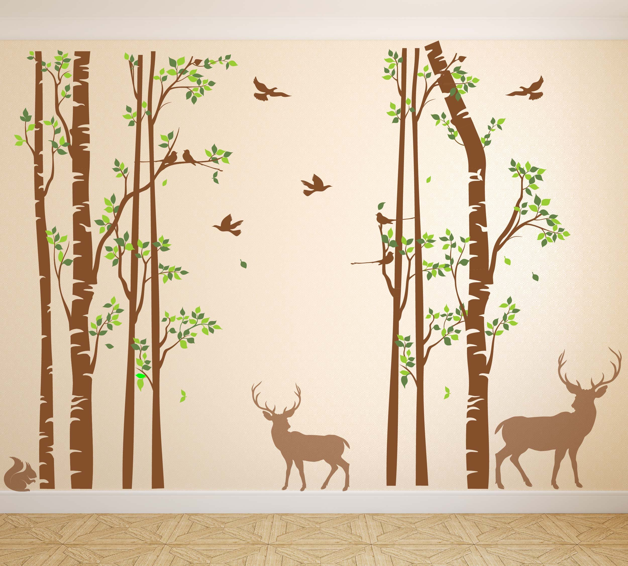 Nursery Birch Tree Wall Decal Forest with Birds and Deer Vinyl Sticker Removable JGD (96'' (8 feet))
