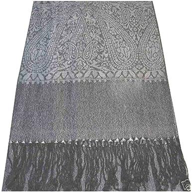 CJ Apparel Argent   Noir Motif Paisley Design Châle Pashmina D écharpe Wrap  Châles 2055f2c6730
