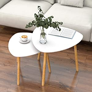 Nesting Table Set of 2 - Bamboo End Table - for Living Room Side Table for Bedroom Triangle Modern Coffee Table (White)