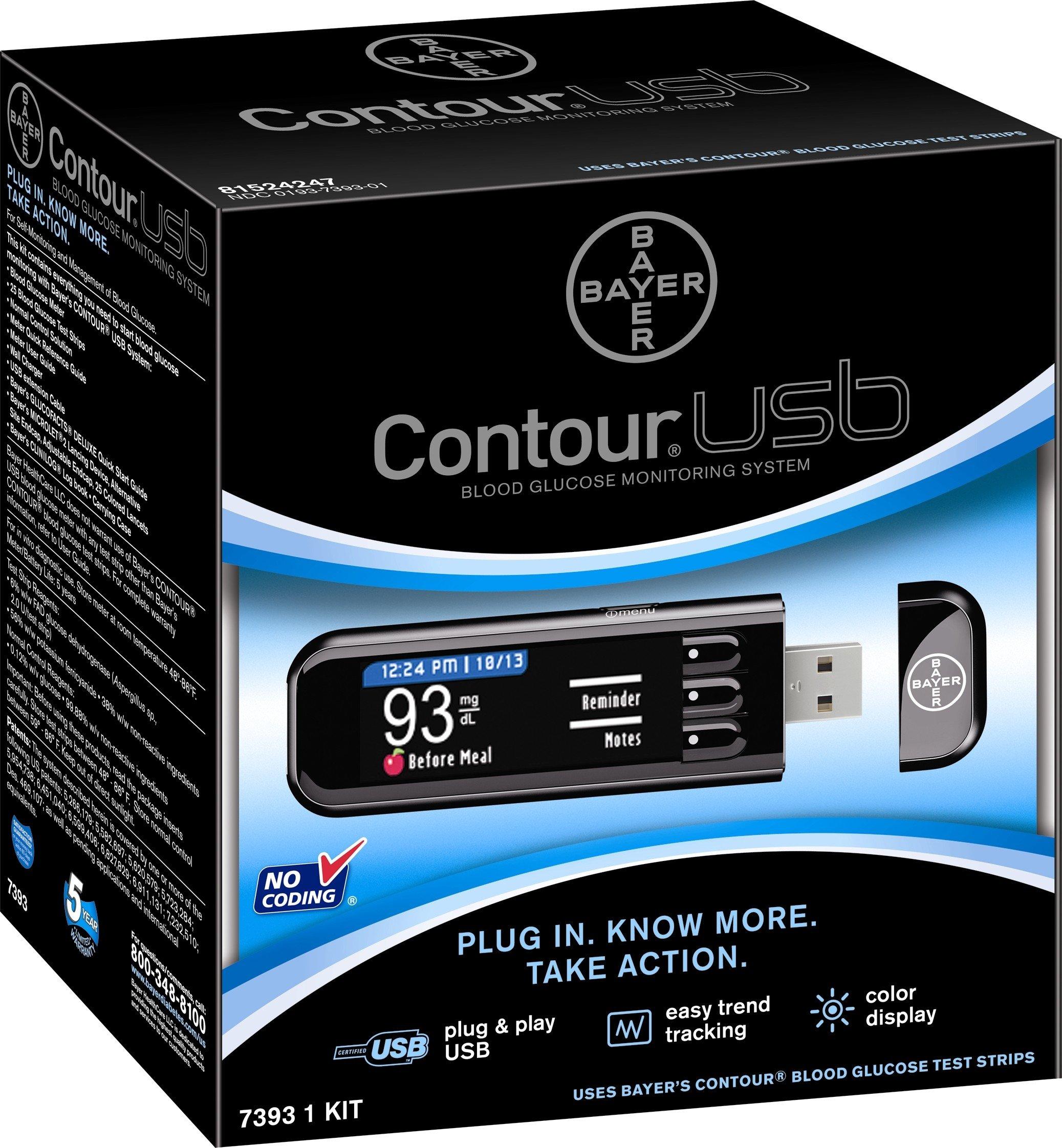 Bayer 7393 Contour USB Blood Glucose Monitoring System, Black