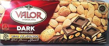 Valor Dark Chocolate Bar (52% Cacao) with Whole Marcona Almonds (8.75 oz