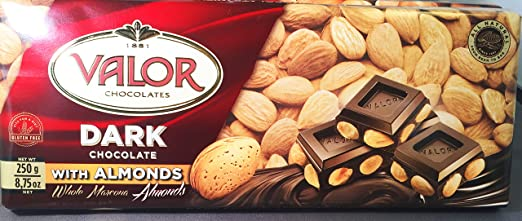 Amazon.com : Valor Dark Chocolate Bar (52% Cacao) with Whole Marcona Almonds (8.75 oz/250 g) : Candy And Chocolate Bars : Grocery & Gourmet Food