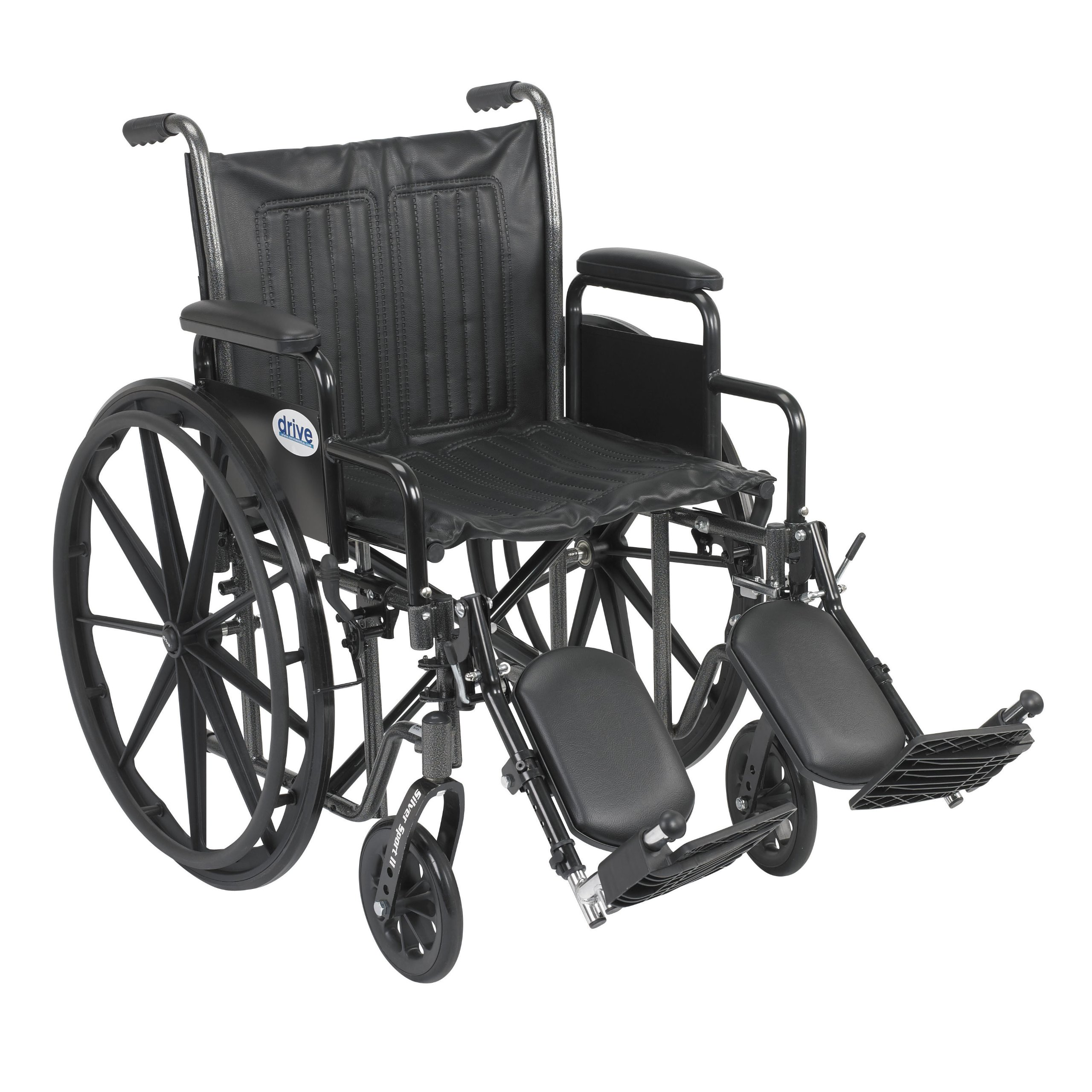 Drive Medical Silver Sport 2 Wheelchair with Various Arms Styles and Front Rigging Options, Black, 20 Inch by Drive Medical