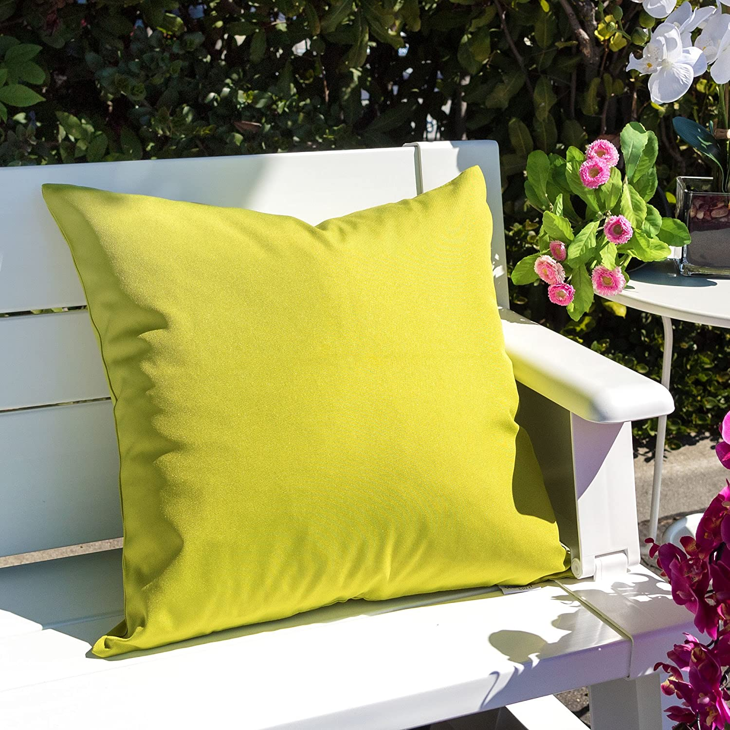 Homey Cozy Outdoor Throw Pillow Cover Cover Only Classic Solid Aqua Blue Large Pillow Sham Water//UV Fade//Stain-Resistance for Patio Lawn Couch Sofa Lounge 20x20