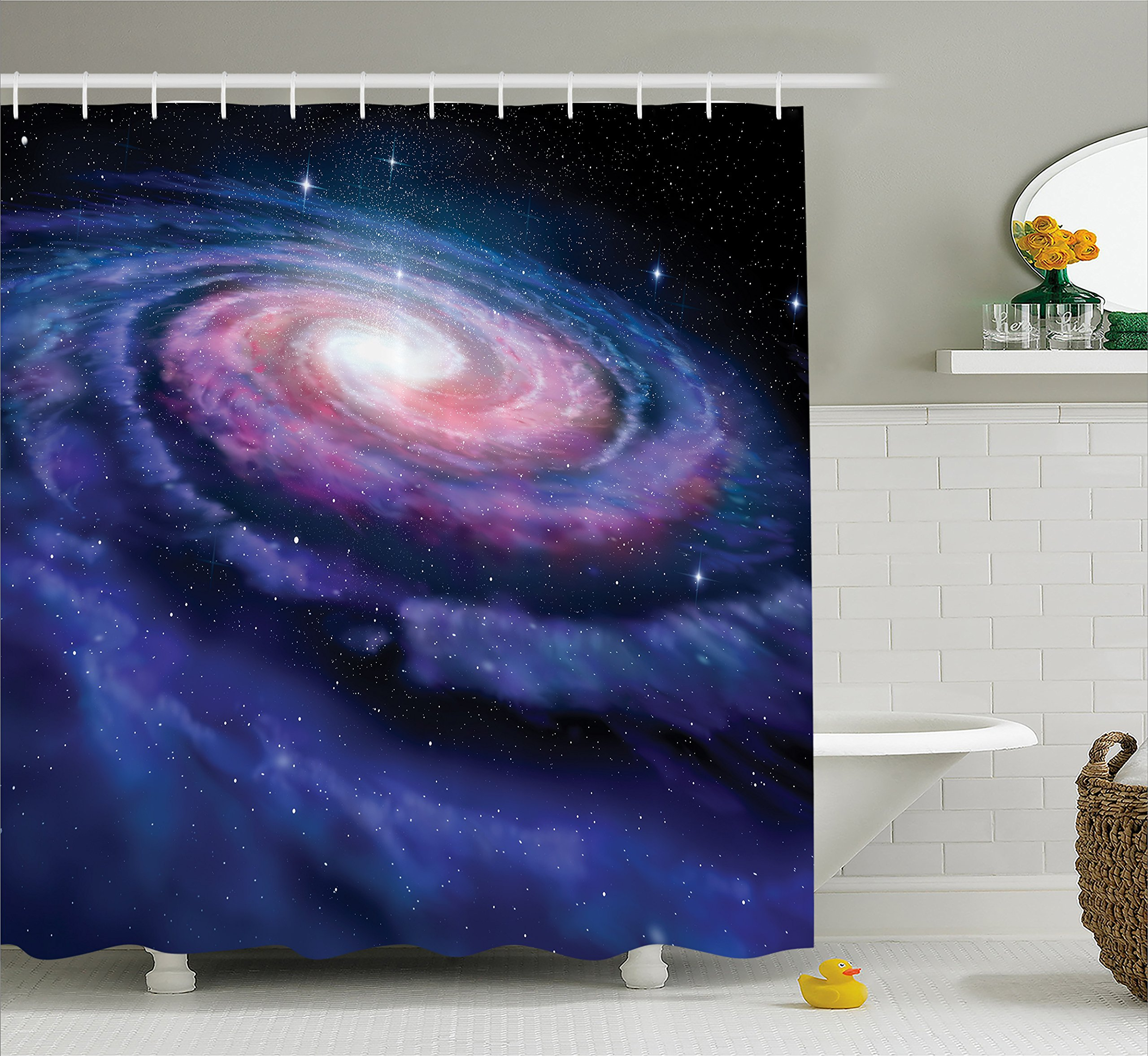 Outer Space Decor Shower Curtain by Ambesonne, Spiral Cosmic Energy with Dark Nebula Cloud Burst Solar Universe Image, Fabric Bathroom Decor Set with Hooks, 70 Inches, Blue Purple