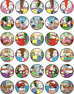 30 MAX AND RUBY EDIBLE WAFER /& ICING CUPCAKES TOPPERS BIRTHDAY PARTY CHILDREN
