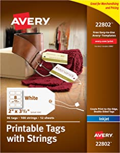 "Avery Printable Tags for Inkjet Printers Only, Gift Tags With Strings, 2"" x 3.5"", 96 Tags (22802)"