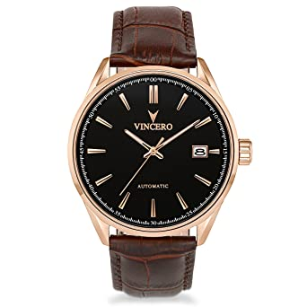 Vincero Luxury Mens Automatic Kairos Wrist Watch - Rose Gold with Brown Leather Watch Band -