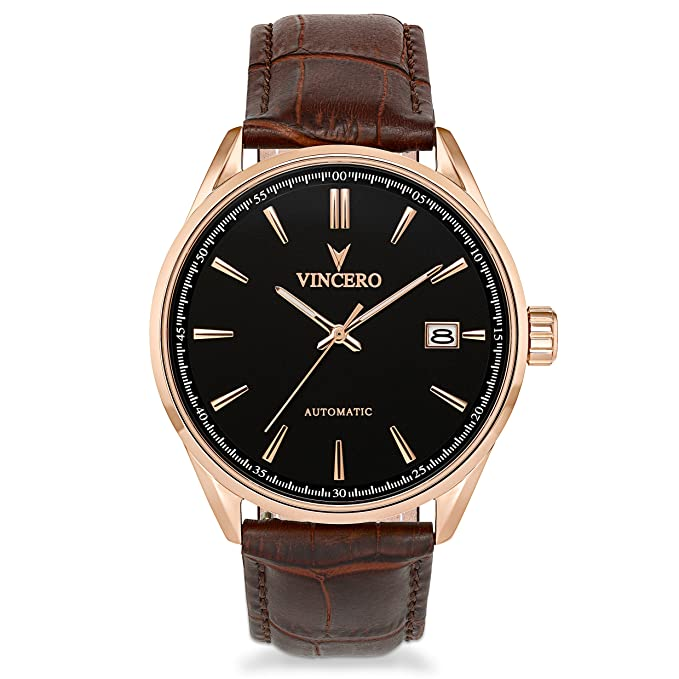 Amazon.com: Vincero Luxury Mens Automatic Kairos Wrist Watch - Rose Gold with Brown Leather Watch Band - 42mm Automatic Watch - Japanese Automatic ...