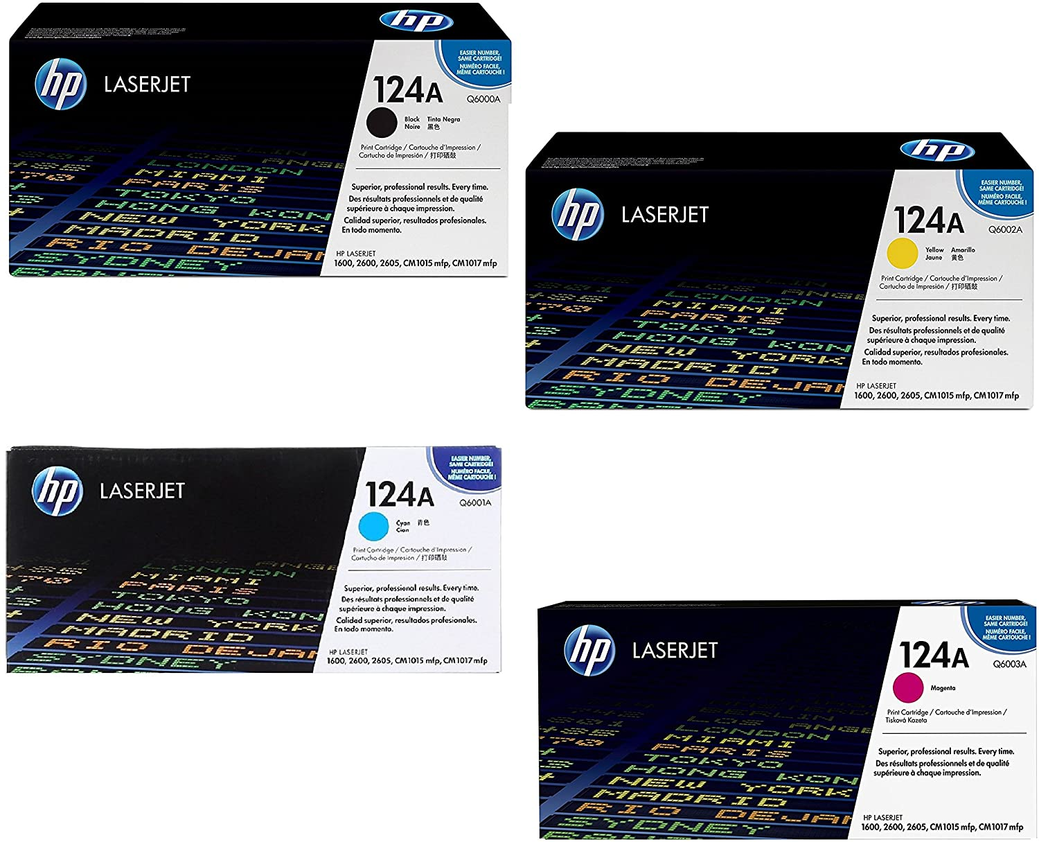 HP 124A Q6000A/Q6001A/Q6002/Q6003A 4 Colors Toner Cartridges For LaserJet 2600n 1600 2605 1015 1017