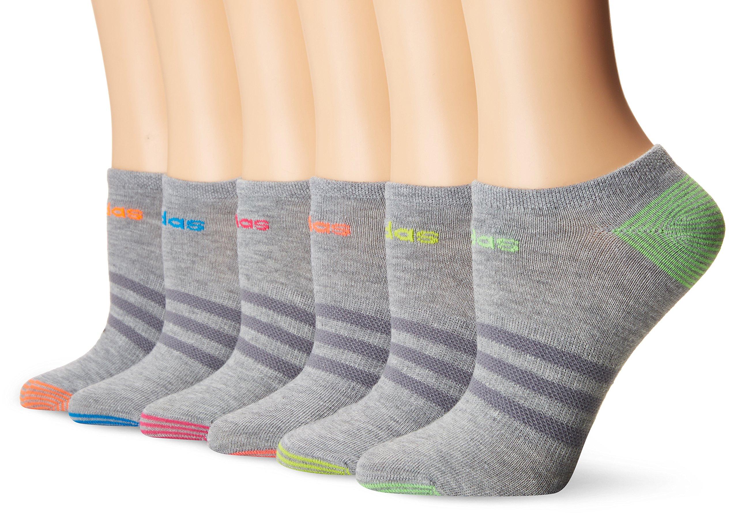 adidas Socks Women's Superlite Mini Stripe 6 Pack No Show Socks, Blue, Size 5-10