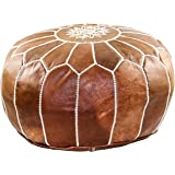 GRAN Handmade Leather Moroccan Pouf Footstool Ottoman | Brown Genuine Leather with Hand Embroidered White Stitching | Unstuffed