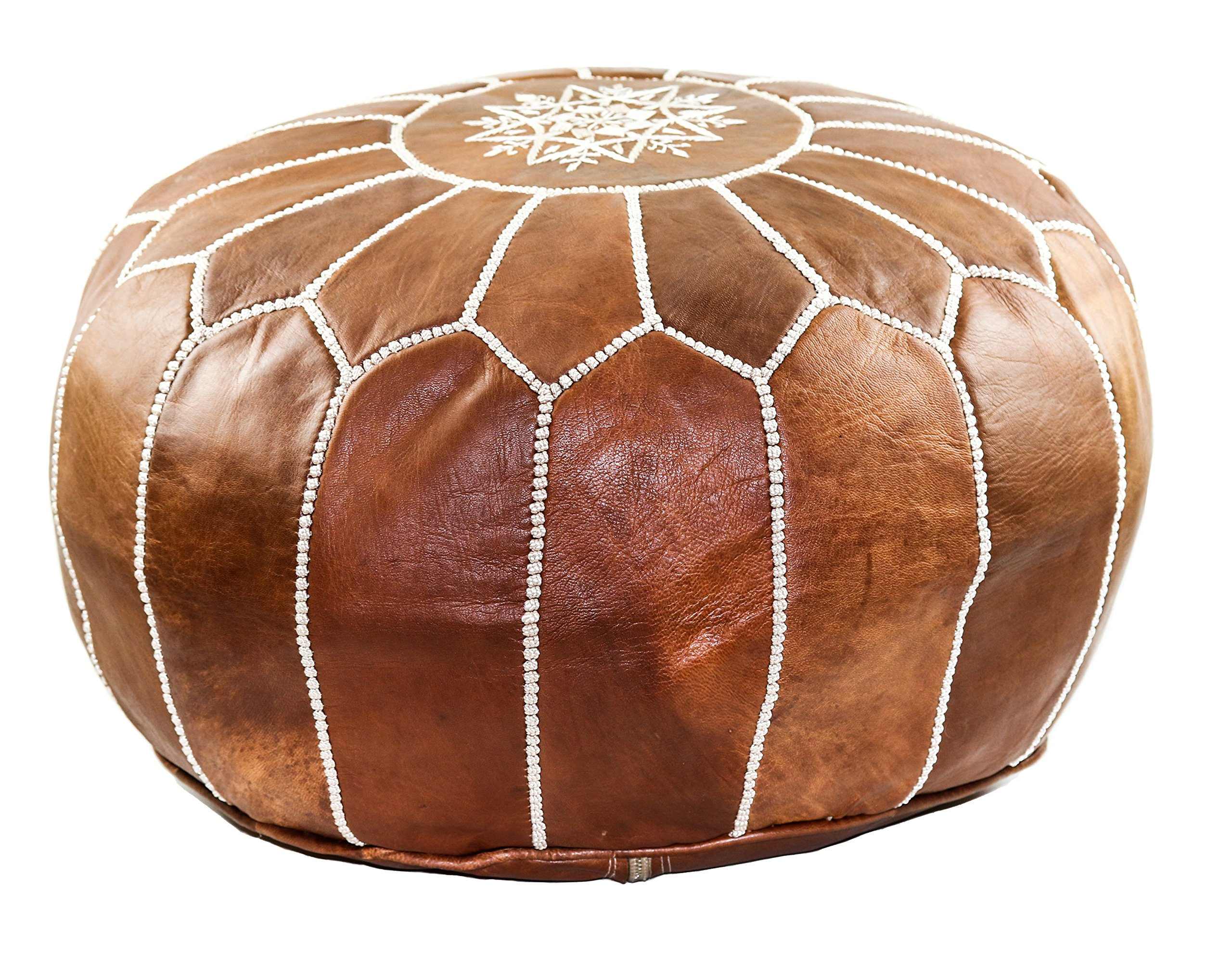 GRAN Stuffed Handmade Leather Moroccan Pouf Footstool Ottoman | Brown Genuine Leather with Hand Embroidered White Stitching