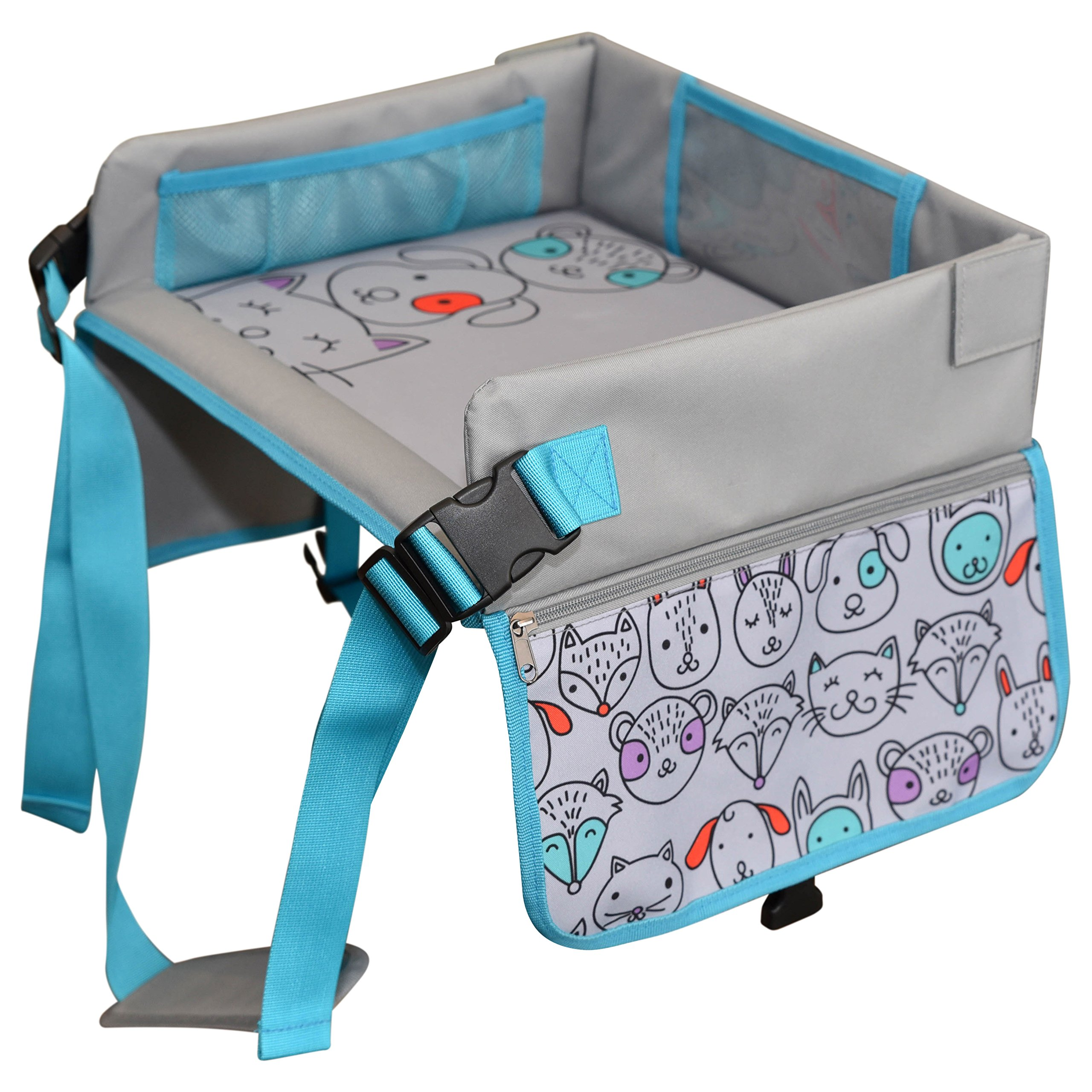 Kids Travel Tray by LillyCrafted-Premium Quality Toddler Car Seat Tray & Lap Table-with Touchscreen Phone & Tablet Holders-Toddler Activity Play & Snack Stroller Organizer-Perfect Travel Accessories by LillyCrafted