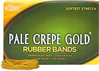 """product image for Alliance Rubber 20185 Pale Crepe Gold Rubber Bands Size #18, 1 lb Box Contains Approx. 2205 Bands (3"""" x 1/16"""", Golden Crepe)"""