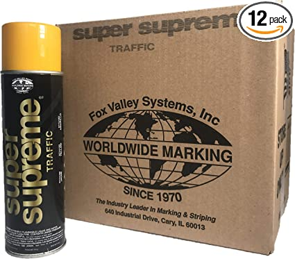 Fox Valley Super Supreme Traffic Spray Paint 1 Case 12 Cans Yellow Com