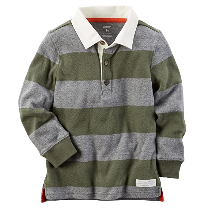 df16928b3e Amazon.com: Carter's Baby Boys' Striped Rugby Polo Shirt (Olive, 6 ...