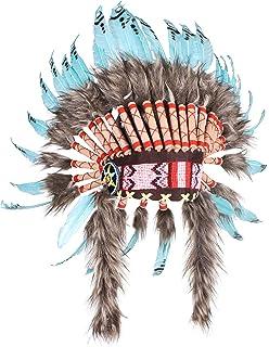 Hejoka Neu Indianer Kopfschmuck Federhaube Unikat Edel Weiße Federn