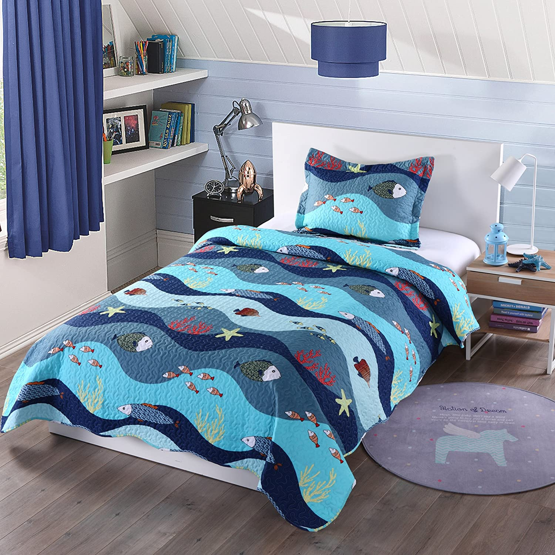 Amazoncom Marcielo 2 Piece Kids Bedspread Quilts Set Throw Blanket